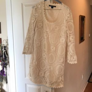 French connection white lace long sleeved dress